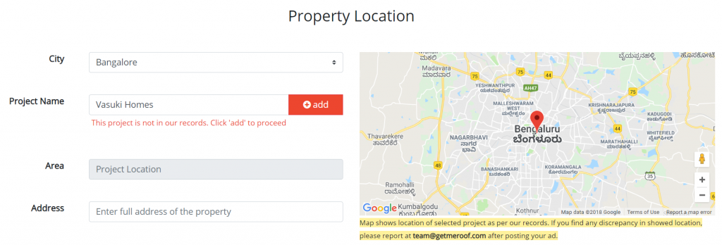 Add project name and location for your property