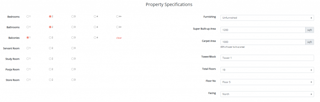Property specifications - Get Me Roof