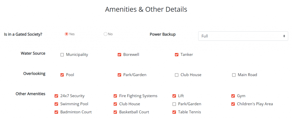 Amenities, Security, Water and Power Backup - Get Me Roof