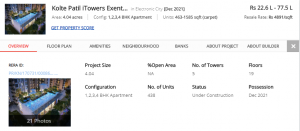 Low Cost Apartments in Electronic City - Kotle Patil iTowers Exente